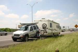 The Caravan stopped on a highway in Texas to photograph a lost sole