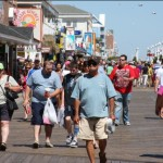 A light crowd on the Ocean City Boardwalk.