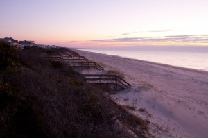 View from atop one of the several walkways that traverse over the dunes at the east end of the island in St. George Plantation