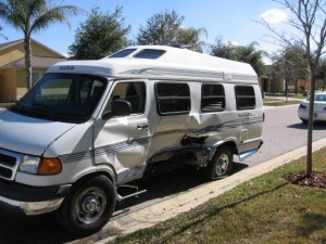 This is the photo I got back from Bob at RV Collision and Restoration in Clermont, Florida. That is a major collision!
