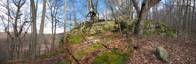 This is not a photo I took, but one I found online at www.bikebfat.com. I was too busy riding to remember to stop and take a pic of the trails. Pictured is a favorite section of mine on Pine Ridge as it took several attempts before I mastered this rocky section of the trail.