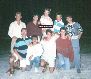 This is a shot from Spring Break 1988. From top left to right: Scooter, Me, Sean, Mark, Jason, Jeff, Chris, Gary and Skippy at far bottom left.